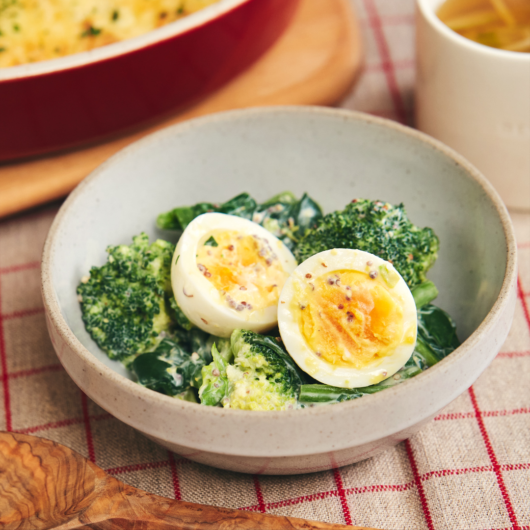 和えるだけ♪ ブロッコリーと卵の粒マスタード和え