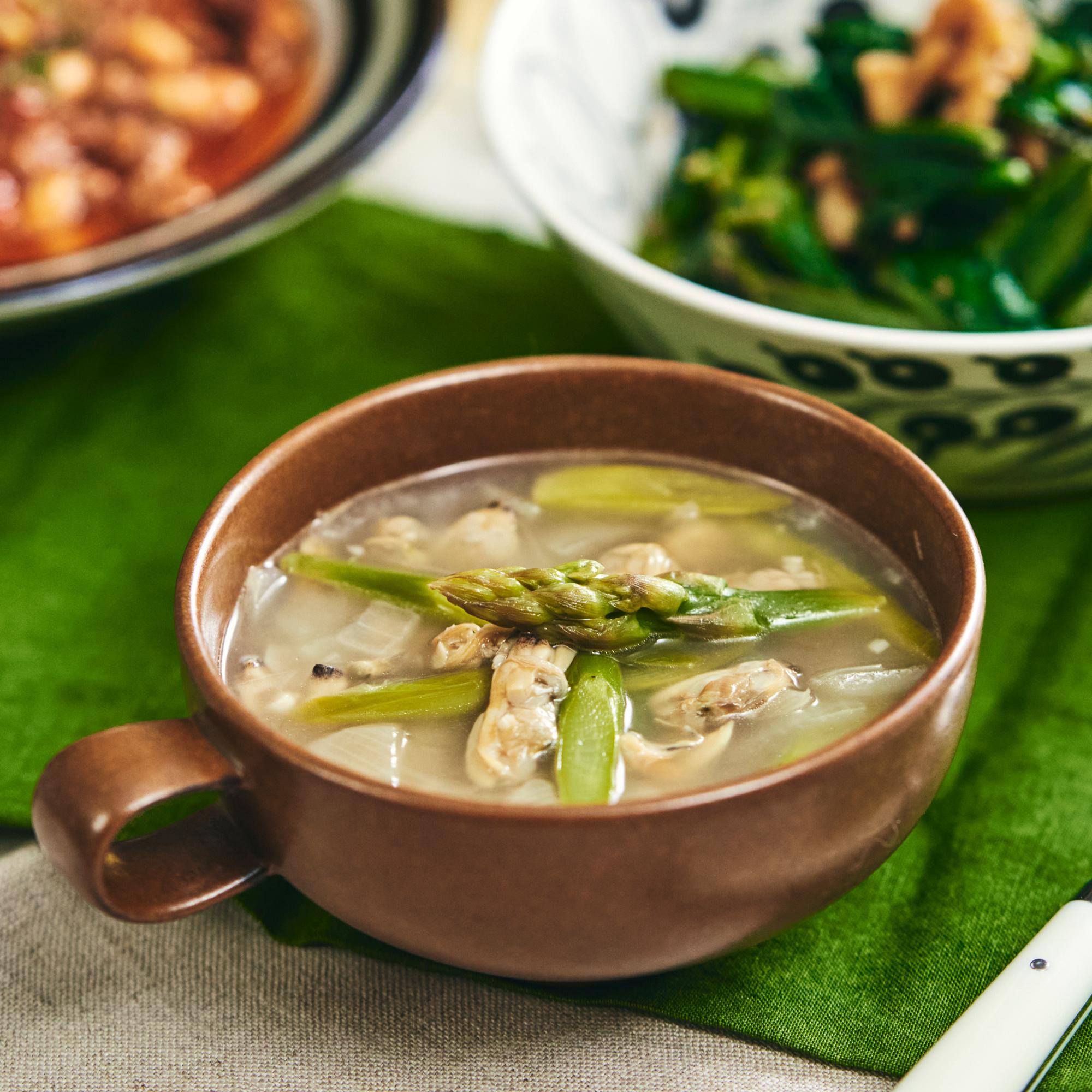 体温まる♪あさりとアスパラのあっさりスープ