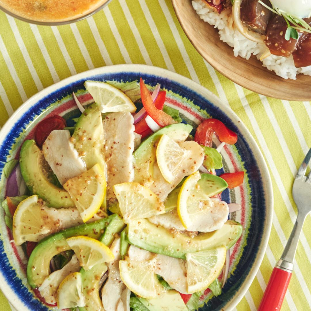 サラダチキンで作ろう♪ 粒マスタードとレモンのハワイアンサラダ