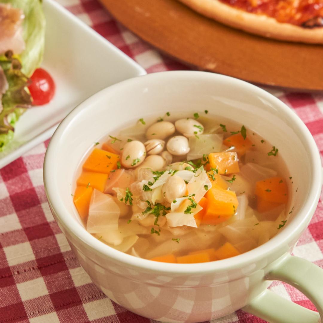切って混ぜるだけ♪大豆の洋風スープ