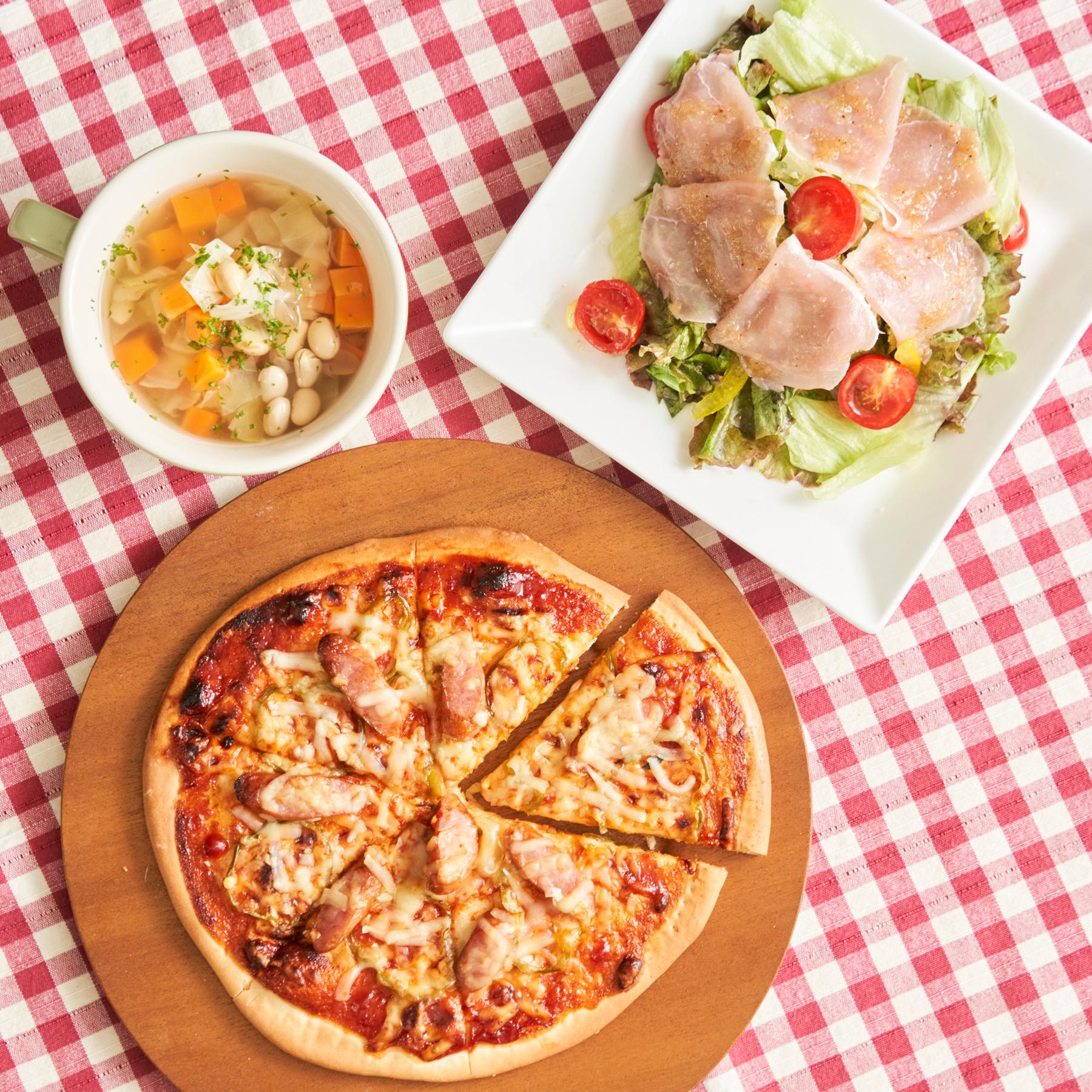夏休みに子どもと一緒に作りたい!手作りピザ献立